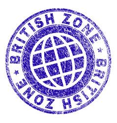 Grunge textured british zone stamp seal vector