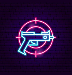 Gun gaming neon sign vector