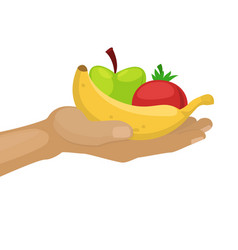 Hand holding ripe fruits apples and banana for vector