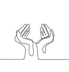 Hands palms together vector
