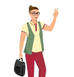 Handsome guy wearing glasses vector image