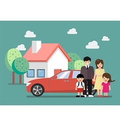 Happy family standing against car and house vector