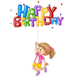 Happy girl holding balloon for birthday vector
