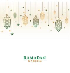 Happy ramadan kareem decorative islamic lamps vector
