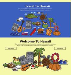 Hawaii travel web banners of hawaiian sightseeings vector