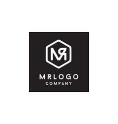 hexagon monogram initials mr rm logo design vector image