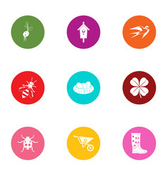 Insect garden icons set flat style vector