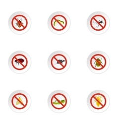 Insects sign icons set flat style vector