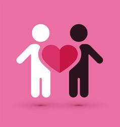 interracial couple love heart vector image