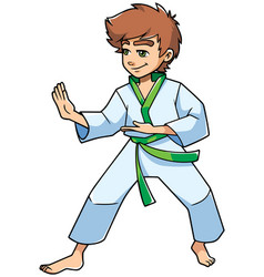 Karate stance boy vector