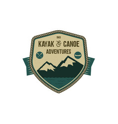 Kayak and canoe adventures badge scout adventure vector