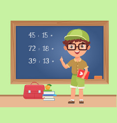 kid boy student studying math in classroom vector image