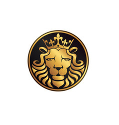 lion logo lion head with crown vector image