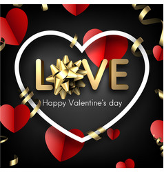 love card with red hearts and bow vector image