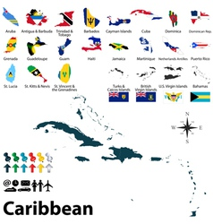 Maps with flags of Caribbean vector