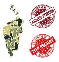 Military camouflage collage of map of krasnoyarsk vector