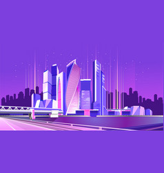 moscow city neon vector image