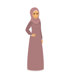 muslim beautiful girl woman in hijab - full-length vector image