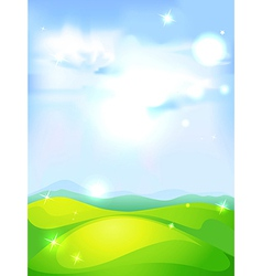 Natural background with blue sky green meadow and vector