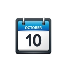 October 10 Calendar icon flat vector