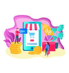 online shopping concept mobile application vector image