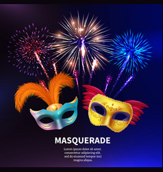 Party masquerade fireworks background vector