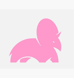 pink dino silhouette for logo or print cute vector image