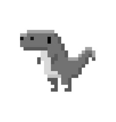 Pixelated cartoon prehistoric dinosaur 8-bit vector
