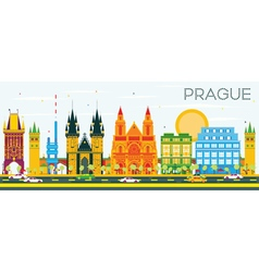 Prague Skyline with Color Buildings vector
