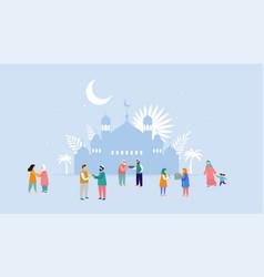 Ramadan kareem eid mubarak greeting card and vector