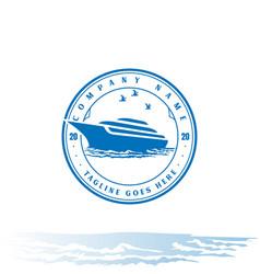 retro vintage yacht ship boat logo design vector image