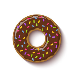 Ring shaped donut covered with chocolate vector
