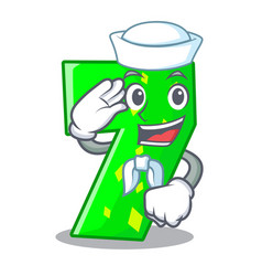 Sailor character paper cut number seven letter vector