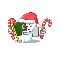 Santa with candy flag algeria are stored mascot vector