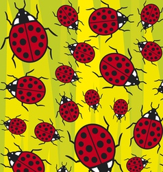 seamless background with ladybugs vector image