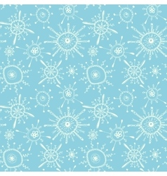 Seamless pattern with white hand drawn snowflakes vector image vector image