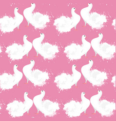 Seamless texture of doves with watercolor splashes vector