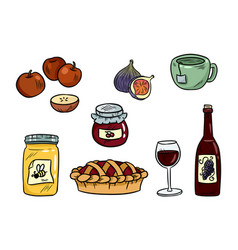 set cute food doodles hygge food stickers for vector image