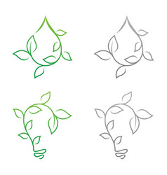 set growth leaf vector image