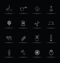 Set icon white line vector
