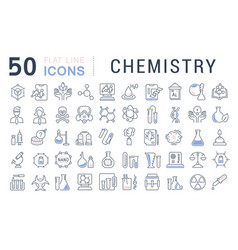 set line icons chemistry vector image