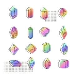 set non-linear crystals vector image