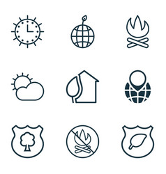 set of 9 ecology icons includes guard tree sun vector image