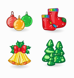 Set of christmas cartoon icons vector