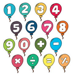 Set of number balloon vector