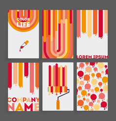 set of six business card vector image
