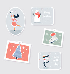 set of tags and labels for winter holidays vector image