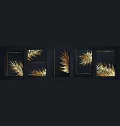 set tropical palms elegant black and gold cover vector image