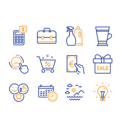 Shampoo and spray finance and calendar icons set vector