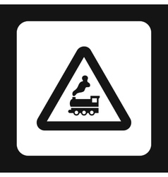 Sign railroad icon simple style vector image